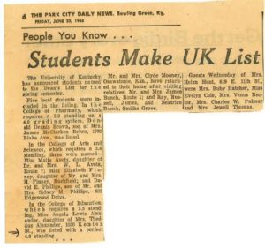 News clipping about UK Dean's List 1965